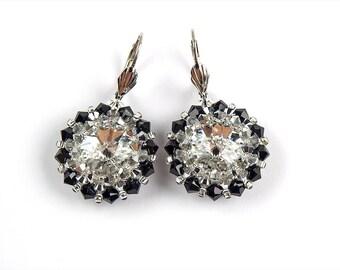 Gifts for her, Swarovski Earrings, Sterling Silver Earrings, Crystal Earrings, Swarovski Crystal Earrings, Bead-woven Earrings