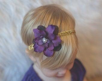 Eggplant Christmas Headband Baby, Purple Headband, Purple and Gold Headband Christmas, Purple and Gold Headband, Christmas Headband Toddler