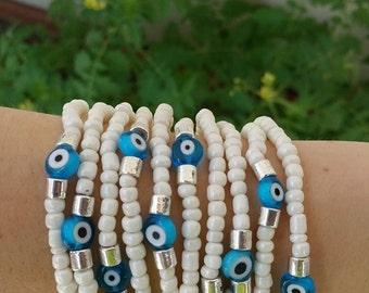Stretch bracelets - evil eye bracelet - friendship bracelet - blue evil eye - stackable bracelets - everyday jewelry - good luck bracelet