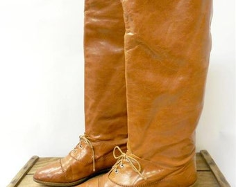 Vintage Tan Supple Italian Leather Tall Lace Up Riding Boots Women 10 *LINING*