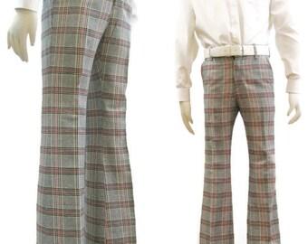 Vintage 70s Pants Plaid Mens Wide Cuffed Flared Brady Bunch Levis Panatela 32