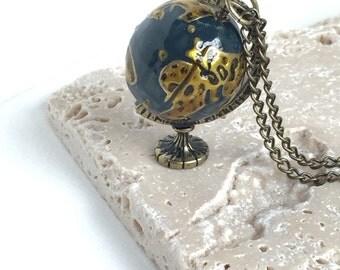 Vintage Style Spinning Globe Necklace// World Necklace// Spinning Globe// Wanderlust Collection