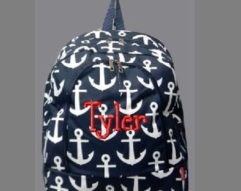 Monogrammed Navy Anchor Print School Size Backpack Bookbag- Personalized with Embroidered Name