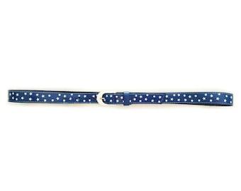 90s Blue PVC Belt with White Stars