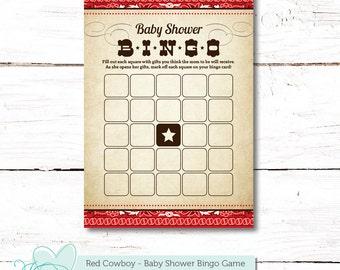 Red Cowboy Bingo Baby Shower Game, Instant Download, Printable Baby Game, Barn, Farm, Western, Baby Bingo, Gender Neutral, Boy, Bingo, 005C