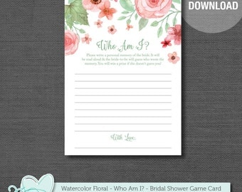 Who Am I Bridal Shower Game, Watercolor Floral, Printable, Instant Download, Flowers, Bridal Game, Bride To Be, Printable Who Am I, 005A
