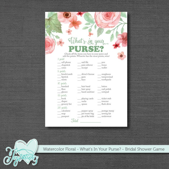 Crafty image pertaining to what's in your purse bridal shower game free printable