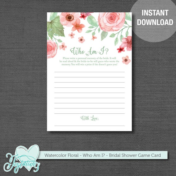 Who Am I Bridal Shower Game Watercolor Floral Printable