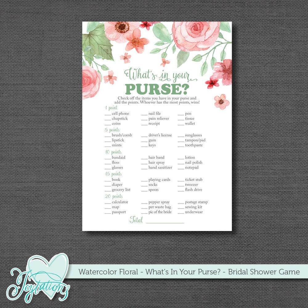 It is a picture of Clean Bridal Shower Purse Game Printable