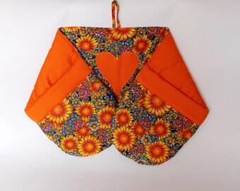 Pot holders, Double Oven Mitt Long Oven Mitt Kitchen Glove for 2 Hands Orange Pot Holder Long Oven Glove  Sunflowers Gift for Mother For her