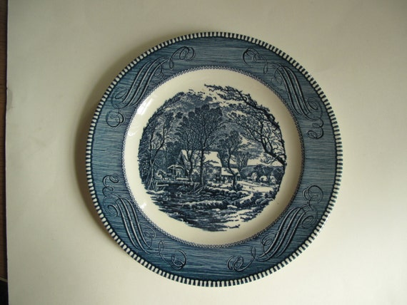 Vintage dinner plate with Currier and Ives (The Old Grist Mill) design in blue and white, by Royal. Blue and white plate, Midcentury plate