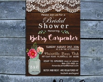 Rustic Mason Jar, Vintage Flowers, and Lace Bridal Shower Inviation -Rustic Bridal Shower - Woodland - 5x7 Printable Invitation