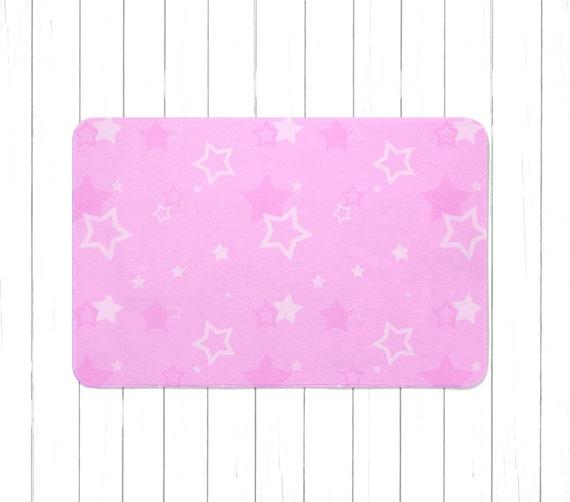 Pink Stars Area Rug Or Bath Mat Minimalist Children's