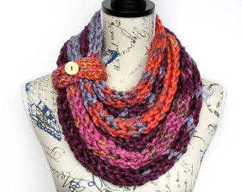 Knit Scarf - Knit Infinity - Knit Shawl - Knit Loop - Winter Scarf - Women Knit Scarf - Finger Knit Scarf - Gift for Her