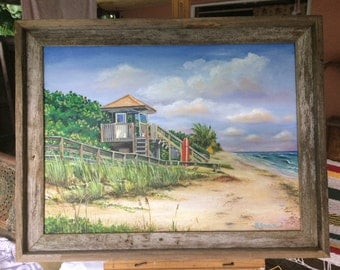 Giclee Canvas Print from Oil Painting of Vero Beach Lifeguard Shack by Buddy Brown