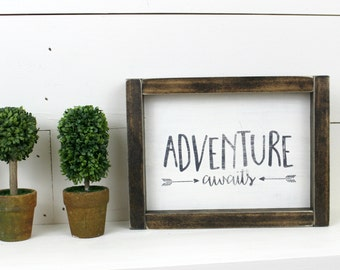Adventure Awaits Sign - Framed Wooden Sign Wood Sign