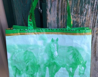 Recycled, Repurposed Tribute Horse Feed Bag Tote With Commercial Webbing Straps, GROCERY BAG, Reusable Bag Market Tote