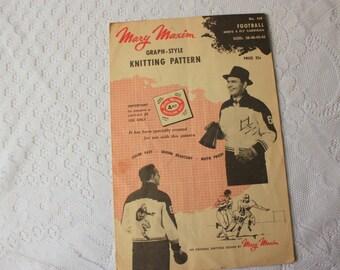 Mary Maxim Pattern 439 - Knitting Pattern Football  - Vintage Football  knitting Pattern - Football Sweater Mary Maxim 439 football pattern