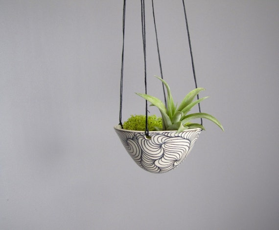 Hanging air plant holder, black and white hanging planter pottery