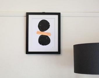 Copper Leaf Balanced print, 50 x 70cm. Suits 50 x 70cm Ikea Ribba frame, Wall print, unframed.
