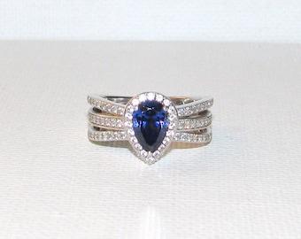8. Sterling Silver Tanzanite & CZ Ring JEAN DOUSSET Size 8