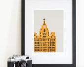 Liver Building Art, Liverpool City Print, Mid Century Art, Architecture Wall Art, Prints Illustrations, City Skyline, Big Poster, 24x36