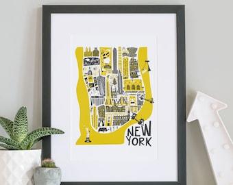 Manhattan New York Print, NYC, City Prints, Husband Gift, Living Room Decor, Travel Wall Art, Mid Century Modern, Prints Illustrations