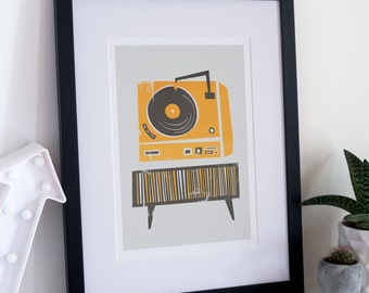 Turntable Art, Record Player Print, Fathers Day, Mid Century Modern Illustration, Music Gift, Vinyl Turntable, Music Room Decor, Gallery
