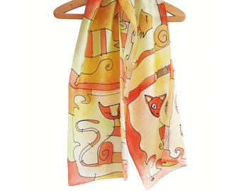 "Silk scarf hand painted in red, green and yellow. Silk chiffon long shawl with cats. Large scarf 18""x71""."