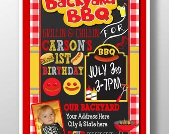bbq birthday invitation, bbq 1st birthday, backyard bbq party invites, kids birthday bbq party decor, red checkered invites, INVBBQ11