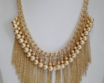 Gold Chain Cascade Necklace / Statement Gold Necklace / Bib Necklace / Gift for Her.