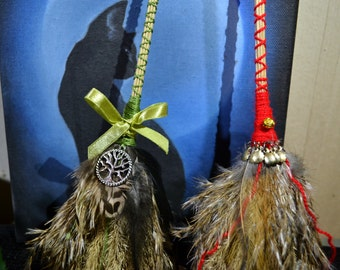 Small fat witches broom besom healing cleansing for altar pagan wiccan witch altar ritual tool with pentacle or tree of life