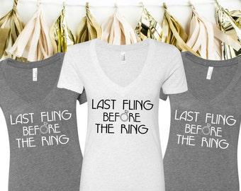 Last Fling Before the Ring V-Neck Tees - Last Fling Before the Ring Bachelorette Party Tees - Last Fling V-Neck T-Shirts -Custom Bridal Tees