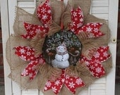 Christmas Wreath Snowman Wreath Christmas Burlap Wreath Small Christmas Wreath Christmas Snowman Decoration Holiday Decor Window Wreath