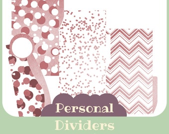 3 Dividersi + 1 pagemarker pink for filofax Personal