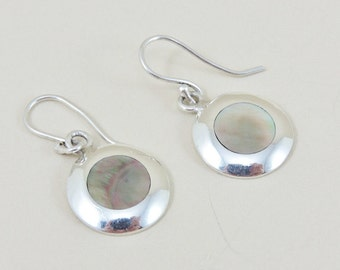 Sterling Silver And Mother Of Pearl Disc Earrings