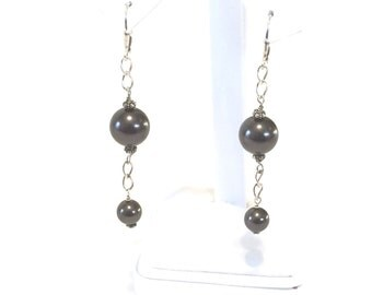 Sterling Silver And Faux Black Pearl Dangle Earrings