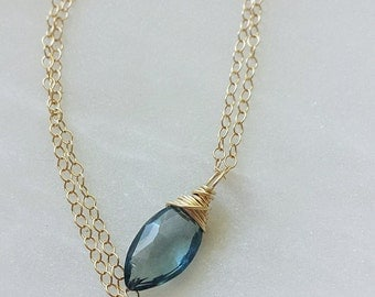 London Blue Topaz Necklace, 14K Gold Topaz Necklace, London Blue Topaz Pendant, Blue Topaz Necklace