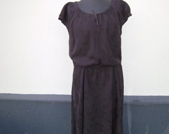 brown Dress - Dress with Piece of elastic - handmade Dress - plus Size Clothing - Dress XL - Polyesterdress - Dress with puff sleeves