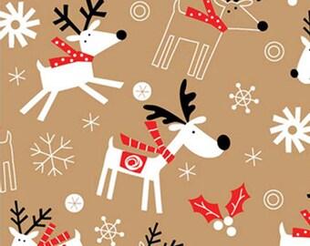 "Reindeer / Snowflake Christmas Tissue Paper on Kraft Tan - # 813 ... 10 large sheets .. 20"" x 30"""