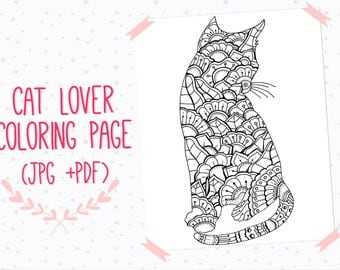 Cat coloring poster  Etsy