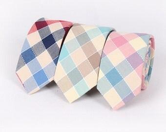 Wedding Tie.Mens Cotton Plaid Neckties.Mens Check Tie.Skinny Tie. Groomsmen Tie.Gift Ideas