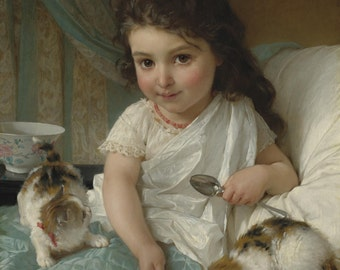 The Morning Meal by Emile Munier, in various sizes, Giclee Canvas Print
