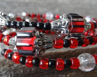 red and black very royal.... original memory wire bracelet