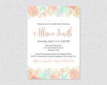 Nautical Baby Shower Invitation Printable - Beach Themed Baby Shower Invites - Coral and Aqua Under the Sea Baby Shower Invitation - 0047-C