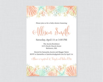 Nautical Baby Shower Invitation Printable Or Printed   Beach Themed Baby  Shower Invites   Coral And