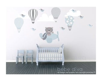Wall Decals Nursery, Hot Air Balloon Wall Decal, Wall Decal Nursery, Nursery Wall Decal, Baby Wall Decal, Kids, REMOVABLE and REUSABLE