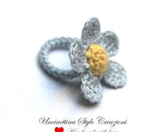 Handmade crochet flower ring, Flower ring, ring, mother