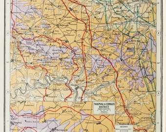 Antique Military Map : The Western Front, Ancre - WWI, Great War, First World War. Harmsworth c. 1919