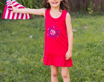 Monogrammed Fourth of July Dress| July 4th Dress | Infant Fourth of July Dress | July 4th Toddler Dress | Fireworks Tank Dress | 4th of July